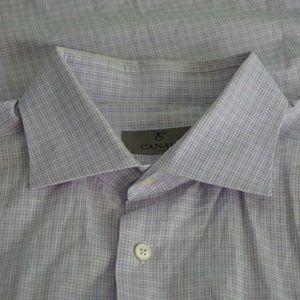 Canali 1934 Silver lbl Blue White Plaid shirt